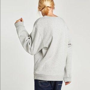 13de5ecb48e NWT Zara Gray Bad Tempered Slogan Sweatshirt NWT